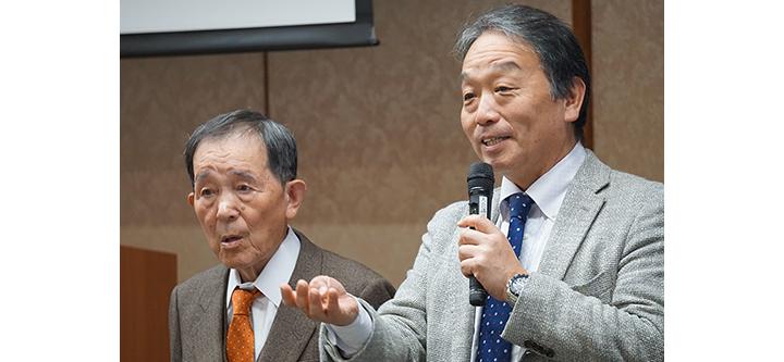 福田九右衛門さん(左)、奥田知志さん