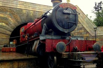 A replica of the fictional Hogwarts Express train in the Harry Potter series.  The train replica is one of the main attractions at the at the Wizarding World of Harry Potter at the Universal Studio Japan (USJ) in Osaka which attracts numerous visitors yearly.  (Photo by Tyra'nell Pille-Lu, EBC Japan/ Eagle News Service)