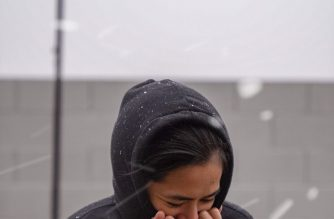 Las Vegas resident, Anna Gravidez, enjoying the snow in her backyard. Photo credit by Edward Gravidez.