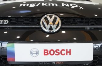 The logos of German electronic and engineering company Bosch and Volkswagen AG are displayed on a diesel powered testcar during Bosch's annual press conference at the Bosch Technology Center in Renningen, southwestern Germany, on April 25, 2018.  The testcar measures real drive emissions of NOx.  / AFP PHOTO / THOMAS KIENZLE