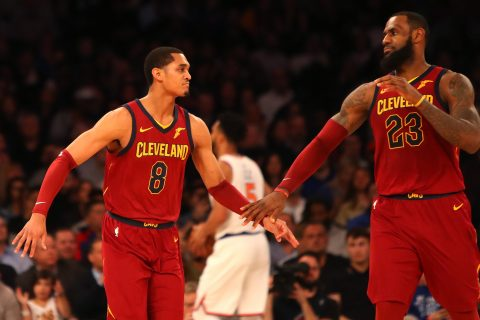 b0f80ae3a658 Jordan Clarkson #8 and LeBron James #23 of the Cleveland Cavaliers react  after a play in the second half against the New York Knicks at Madison  Square ...