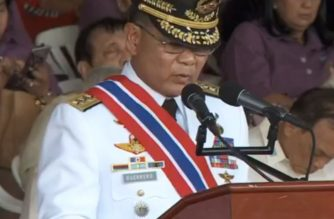 Lieutenant General Rey Guerrero speaks during change of command ceremonies in Camp Aguinaldo on Wednesday, April 18.  President Rodrigo Duterte has named the now-retired Armed Forces of the Philippines Chief of Staff as Maritime Industry Authority administrator. /RTVM/