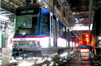 An MRT-3 train being checked during maintenance.  (Photo courtesy DoTr-MRT3, https://dotcmrt3.gov.ph/about)
