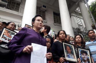 Public Attorneys Office Chief Persida Acosta filed on Thursday, April 4, charges against former Health Secretary Janette Garin and 34 others over deaths allegedly linked to Dengvaxia. Acosta was flanked by relatives of some of the supposed victims. /Moira Encina/Eagle News Service/