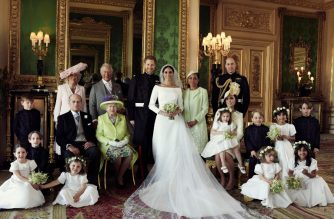 """A picture released by Kensington Palace on behalf of The Duke and Duchess of Sussex on May 21, 2018 shows Britain's Prince Harry, Duke of Sussex, (CL) and his wife Meghan, Duchess of Sussex, (CR) posing for an official wedding photograph with (L-R back row) Britain's Camilla, Duchess of Cornwall, Britain's Prince Charles, Prince of Wales, Doria Ragland, the Duchess of Sussex's mother, Britain's Prince William, Duke of Cambridge, (middle row L-R): Master Jasper Dyer, Britain's Prince Philip, Duke of Edinburgh, Britain's Queen Elizabeth II, Britain's Catherine, Duchess of Cambridge, Princess Charlotte of Cambridge, Prince George of Cambridge, Miss Rylan Litt, Master John Mulroney and (front row) Miss Ivy Mulroney, Master Brian Mulroney, Miss Florence van Cutsem, Miss Zalie Warren and Miss Remi Litt in the Green Drawing Room, Windsor Castle, in Windsor on May 19, 2018.  / AFP PHOTO / KENSINGTON PALACE / Alexi Lubomirski / RESTRICTED TO EDITORIAL USE - MANDATORY CREDIT """"AFP PHOTO / THE DUKE AND DUCHESS OF SUSSEX / ALEXI LUBOMIRSKI """" - NO MARKETING NO ADVERTISING CAMPAIGNS - NO COMMERCIAL USE - NO SALES - RESTRICTED TO SUBSCRIPTION USE - NO USE IN SOUVENIRS OR MEMORABILIA - NO CROPPING, ENHANCING OR DIGITAL MODIFICATION - NOT TO BE USED AFTER DECEMBER 31, 2018 - DISTRIBUTED AS A SERVICE TO CLIENTS   / """"The erroneous mention[s] appearing in the metadata of this photo by Alexi Lubomirski has been modified in AFP systems in the following manner: [A picture released by Kensington Palace on behalf of The Duke and Duchess of Sussex on May 21, 2018 shows Britain's Prince Harry, Duke of Sussex, (CL) and his wife Meghan, Duchess of Sussex, (CR) posing for an official wedding photograph with (L-R back row) Britain's Camilla, Duchess of Cornwall, Britain's Prince Charles, Prince of Wales, Doria Ragland, the Duchess of Sussex's mother, Britain's Prince William, Duke of Cambridge, (middle row L-R): Master Jasper Dyer, Britain's Prince Philip, Duke of Edinburgh, Britain's Queen Elizab"""