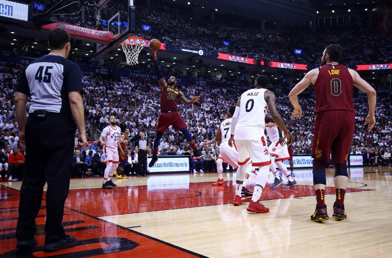 LeBron James ( 23) of the Cleveland Cavaliers goes up for a shot in the  second half of Game Two of the Eastern Conference Semifinals against the  Toronto ... 58a360dec