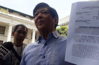 Former Senator Bongbong Marcos on Monday, May 28, asked the Presidential Electoral Tribunal to junk Vice President Leni Robredo's request for a 25 percent ballot shading threshold. /Moira Encina/Eagle News/