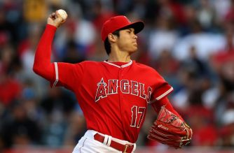 ANAHEIM, CA - JUNE 06: Shohei Ohtani #17 of the Los Angeles Angels of Anaheim pitches during the first inning of a game against the Kansas City Royals at Angel Stadium on June 6, 2018 in Anaheim, California.   Sean M. Haffey/Getty Images/AFP