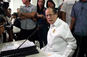 Former President Benigno Aquino III attends the Department of Justice's preliminary probe into the Dengvaxia mess on Monday, June 4./Moira Encina/Eagle News/