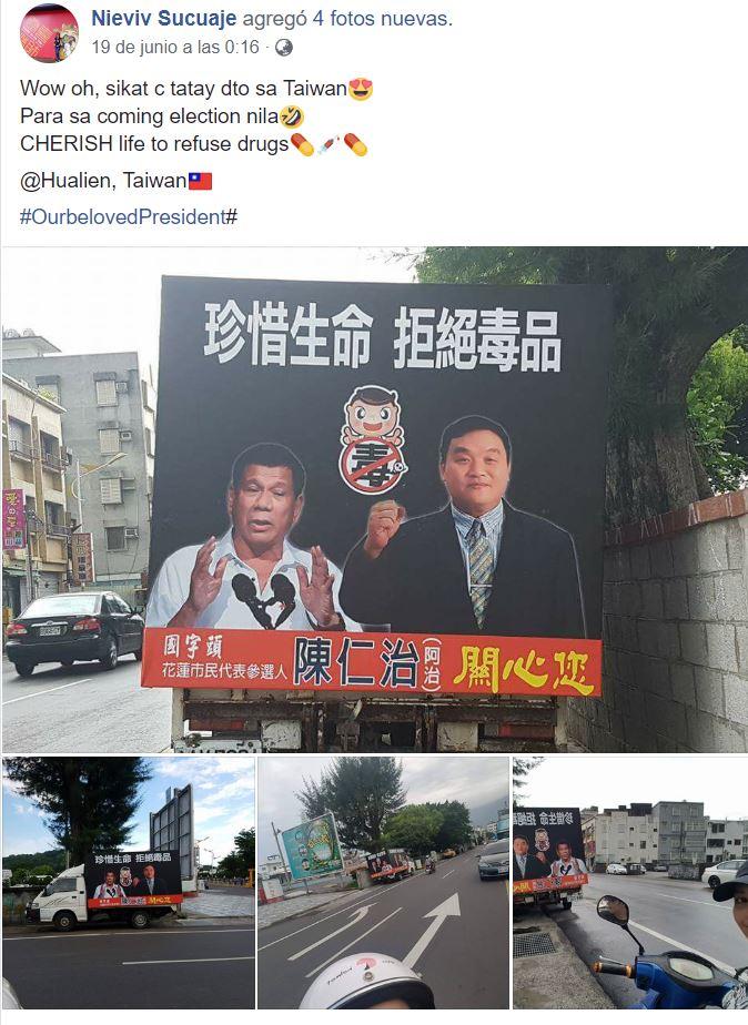 LOOK: Duterte's image in a Taiwanese politician's mobile billboard in Hualien