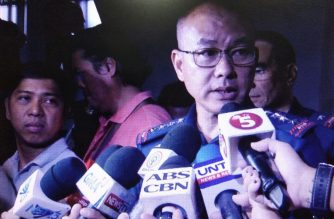 Philippine National Police Chief Oscar Albayalde speaks to the media at the wake of Madonna Joy Tanyag, an assistant special prosecutor of the Ombudsman, on Wednesday night, June 7./Earlo Bringas/Eagle News Service/