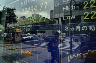 FILE PHOTO: A stock indicator shows share prices on the Tokyo Stock Exchange in Tokyo on June 22, 2018. Tokyo stocks opened lower on June 22, extending losses in global markets amid escalating trade tensions and a stronger yen against the US dollar. / AFP PHOTO / Kazuhiro NOGI