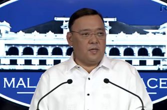 (File photo) Presidential Spokesperson Harry Roque answering reporters' questions during a press conference in Malacanang on Tuesday, July 24, 2018.  (Photo grabbed from RTVM video)