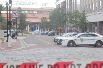 Police cordon off streets after mass shooting in Jacksonville, Florida. Patrick Harrington/EBC Florida/Eagle News Service/