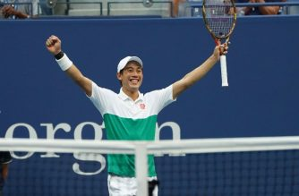 Kei Nishikori of Japan celebrates his victory over Marin Cilic of Croatia during their US Open tennis men's singles quarterfinals match on September 5, 2018 in New York.                      / AFP PHOTO / kena betancur