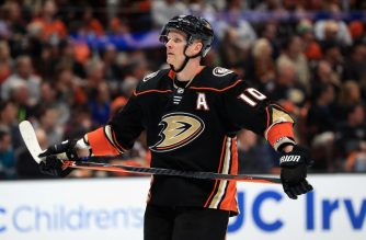 ANAHEIM, CA - APRIL 14: Corey Perry #10 of the Anaheim Ducks looks on during the third period in Game Two of the Western Conference First Round against the San Jose Sharks during the 2018 NHL Stanley Cup Playoffs at Honda Center on April 14, 2018 in Anaheim, California. THe San Jose Sharks defeated the Anaheim Ducks 3-2.   Sean M. Haffey/Getty Images/AFP