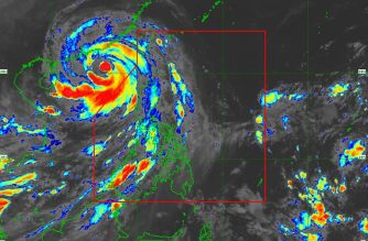 "This satellite image by PAGASA shows ""Ompong"" as it moves toward southern China, outside the Philippine Area of Responsibility."
