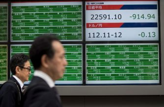 Pedestrians walk past a stock indicator board showing share prices of the Tokyo Stock Exchange and foreign exchange rate of the Japanese yen against the US dollar in Tokyo on October 11, 2018. - Tokyo stocks dropped nearly two percent at the opening on October 11 following a plunge in New York, as US traders fretted about surging interest rates and the safe-haven yen climbed against the dollar. (Photo by Behrouz MEHRI / AFP)