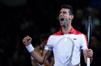 Novak Djokovic of Serbia reacts after beating Borna Coric of Croatia in their men's singles final match at the Shanghai Masters tennis tournament on October 14, 2018. (Photo by Johannes EISELE / AFP)
