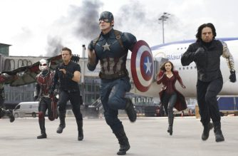 "In this image released by Disney, from left, Paul Rudd, Jeremy Renner, Chris Evans, Elizabeth Olsen and Sebastian Stan appear in a scene from ""Captain America: Civil War."" Evans has wrapped his final performance as Captain America. Evans tweeted  Thursday, Oct. 4, 2018, that his last shooting day on ""Avengers 4"" was an ""emotional day.""  The 37-year-old actor thanked his colleagues and fans for his eight years as Captain American, saying it ""has been an honor."" ""Avengers 4"" is slated to open in May next year. (Disney-Marvel via AP)"