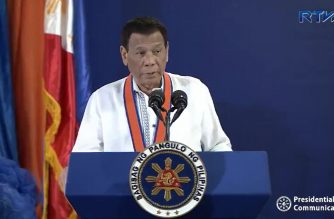 President Rodrigo Duterte speaking at the 117th anniversary of the Philippine Coast Guard (PCG) at the PCG Headquarters in Port Area, Manila on October 25, 2018.  (Photo grabbed from RTVM video)