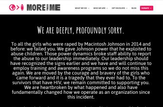 """More than Me"" charity organization in Liberia posts its apology on its website to the girls raped by charity co-founder Macintosh Johnson who later died of AIDS.  (Photo grabbed from More than Me website, morethanme.org.)"