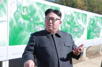 """This undated picture released from North Korea's official Korean Central News Agency (KCNA) on November 1, 2018 shows North Korean leader Kim Jong-Un inspecting the construction site of the Hot Spring Tourist Area in Yangdok County, South Phyongan Province. (Photo by KCNA VIA KNS / KCNA VIA KNS / AFP) / - South Korea OUT / REPUBLIC OF KOREA OUT   ---EDITORS NOTE--- RESTRICTED TO EDITORIAL USE - MANDATORY CREDIT """"AFP PHOTO/KCNA VIA KNS"""" - NO MARKETING NO ADVERTISING CAMPAIGNS - DISTRIBUTED AS A SERVICE TO CLIENTS THIS PICTURE WAS MADE AVAILABLE BY A THIRD PARTY. AFP CAN NOT INDEPENDENTLY VERIFY THE AUTHENTICITY, LOCATION, DATE AND CONTENT OF THIS IMAGE. THIS PHOTO IS DISTRIBUTED EXACTLY AS RECEIVED BY AFP. /"""