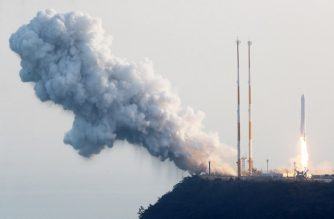 """This handout photo taken on November 28, 2018 and provided by Korea Aerospace Research Institute (KARI) shows a single stage rocket taking off from its launch pad at the Naro Space Center in the southern coast county of Goheung. - South Korea on November 28 successfully conducted a rocket engine test launch, news reports said, paving the way for the development of its own space launch vehicle. (Photo by handout / various sources / AFP) / RESTRICTED TO EDITORIAL USE - MANDATORY CREDIT """"AFP PHOTO / KARI"""" - NO MARKETING NO ADVERTISING CAMPAIGNS - DISTRIBUTED AS A SERVICE TO CLIENTS  NO ACHIVES"""