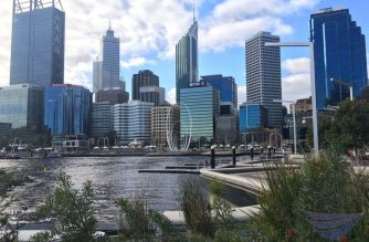The skyline's the limit in Elizabeth Quay in Perth, Western Australia - where art, culture, and business thrive in the city of opportunity.  (Photo by Angelo Deriada in Perth, Australia/ EBC Australia Bureau/Eagle News Service)