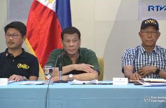 President Rodrigo Duterte presides over a situation briefing regarding the latest updates on the onslaught and aftermath of Typhoon 'Rosita' in Region 2 and in the Cordillera Administrative Region (CAR) at the Hotel Andrea in Cauayan City, Isabela on November 1, 2018.  (Photo grabbed from RTVM video)