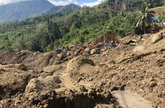 Photo released by the Provincial Disaster Risk Reduction and Management Office (PDRRMO) in Mountain Province showing the landslide site in Natonin, Mt. Province.  (Photo courtesy Mt. Province PDRRMO)