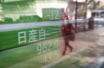 A picture taken in Tokyo on November 20, 2018 shows the price of Nissan shares on a stock exchange indicator board. - Technology firms led a sell-off across Asian markets on fresh concerns about demand for Apple's iPhones, while Japanese car giant Nissan and Mitsubishi plunged on news chairman Carlos Ghosn had been arrested over alleged financial misconduct. (Photo by Behrouz MEHRI / AFP)