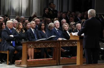 (L-R)US President Donald Trump, First Lady Melania Trump,former US President Barack Obama, former First Lady Michelle Obama former US President Bill Clinton, former US First Lady Hillary Clinton and former US President Jimmy Carter listen as former Canadian Prime Minister Brian Mulroney speaks during the State Funeral for former President George H.W. Bush at the National Cathedral, on December 5, 2018 in Washington, DC. (Photo by Alex Brandon / POOL / AFP)