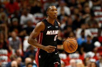 MIAMI, FL - OCTOBER 20: Josh Richardson #0 of the Miami Heat dribbles with the ball against the Charlotte Hornets at American Airlines Arena on October 20, 2018 in Miami, Florida. NOTE TO USER: User expressly acknowledges and agrees that, by downloading and or using this photograph, User is consenting to the terms and conditions of the Getty Images License Agreement.   Michael Reaves/Getty Images/AFP