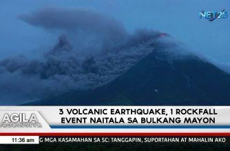 3 volcanic earthquakes, rockfall event naitala sa Bulkang Mayon