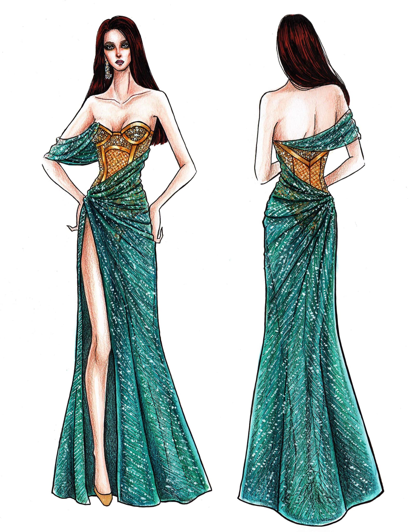 """In photos: Designer Mak Tumang releases sketches of """"third gown"""" Catriona Gray planned to wear at Miss Universe pageant"""