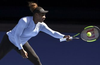Serena Williams of the US hits a return during a practice session in Melbourne on January 13, 2019, ahead of the Australian Open tennis tournament. (Photo by William WEST / AFP) / -- IMAGE RESTRICTED TO EDITORIAL USE - STRICTLY NO COMMERCIAL USE --