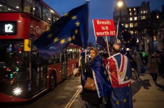 "Anti-Brexit supporters hold placards and flags as they demonstrate outside the Houses of Parliament on January 14, 2019. - Prime Minister Theresa May on Monday published further assurances from the EU on the eve of a crucial parliamentary vote on her Brexit deal and warned MPs that rejecting it would lead to ""paralysis"" that could see Britain stay in the bloc. (Photo by Oli SCARFF / AFP)"
