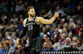 """(FILES) In this file photo taken on December 11, 2018, Blake Griffin #23 of the Detroit Pistons reacts against the Charlotte Hornets during their game at Spectrum Center in Charlotte, North Carolina. - Detroit Pistons forward Blake Griffin was fined $15,000 on Thursday, January 17, 2018 following a clash with a game official earlier this week, the NBA announced. Griffin was caught hurling an expletive at a member of the officiating crew during Detroit's 100-94 loss to the Utah Jazz on Monday, JAnuary 14, 2019. """"Detroit Pistons forward Blake Griffin has been fined $15,000 for verbal abuse of a game official,"""" a statement said. Former Los Angeles Clippers ace Griffin finished with 19 points during the loss, which was the Pistons' fifth defeat in their past seven games. Detroit remain ninth in the conference standings with 19 wins against 24 defeats. (Photo by STREETER LECKA / GETTY IMAGES NORTH AMERICA / AFP)"""