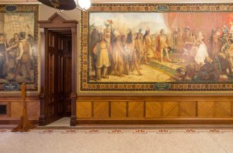 """This October 9, 2015, image courtesy of the University of Notre Dame, shows murals by Luigi Gregori, painted in 1882-84, depicting the life and exploration of Christopher Columbus. - The University of Notre Dame, one of the oldest and most prestigious US centers of higher learning, will cover the murals out of concern that the art works depict a skewed history of colonial America. Painted on the walls of the Catholic institution's main building -- a grand structure with a golden dome built in 1879 -- the 12 murals display various moments in the life and exploration of Columbus. (Photo by Matt Cashore / University of Notre Dame / AFP) / RESTRICTED TO EDITORIAL USE - MANDATORY CREDIT """"AFP PHOTO / Matt Cashore / University of Notre Dame"""" - NO MARKETING NO ADVERTISING CAMPAIGNS - DISTRIBUTED AS A SERVICE TO CLIENTS"""