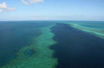 This photo taken on November 20, 2014 shows an aerial view of the Great Barrier Reef off the coast of the Whitsunday Islands, along the central coast of Queensland.  The Great Barrier Reef Marine Park encompasses about 99 percent of the World Heritage-listed natural wonder, with the additional one percent outside the marine park but within the heritage-listed area -- about 3,600 square kilometres (1,390 square miles) -- being managed by the Queensland state government and includes most islands and ports, as well as lakes and other waterways.       AFP PHOTO / SARAH LAI (Photo by Sarah Lai / AFP)