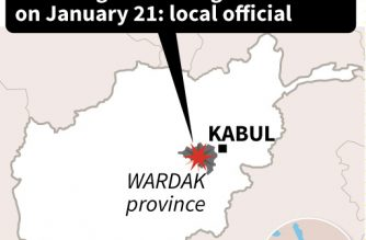 Map locating an attack in Wardak province in Afghanistan on Monday