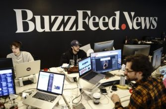 NEW YORK, NY - DECEMBER 11: Members of the BuzzFeed News team work at their desks at BuzzFeed headquarters, December 11, 2018 in New York City. BuzzFeed is an American internet media and news company that was founded in 2006. According to a recent report in The New York Times, the company expects to surpass 300 million dollars in earnings for the 2018 fiscal year.   Drew Angerer/Getty Images/AFP