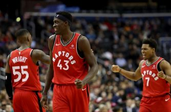 WASHINGTON, DC - JANUARY 13: Pascal Siakam #43 of the Toronto Raptors celebrates in the second half against the Washington Wizards at Capital One Arena on January 13, 2019 in Washington, DC. NOTE TO USER: User expressly acknowledges and agrees that, by downloading and or using this photograph, User is consenting to the terms and conditions of the Getty Images License Agreement.   Rob Carr/Getty Images/AFP