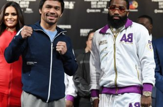 LAS VEGAS, NEVADA - JANUARY 16: WBA welterweight champion Manny Pacquiao (L) and Adrien Broner pose during a news conference at MGM Grand Hotel & Casino on January 16, 2019 in Las Vegas, Nevada. Pacquiao will defend his title against Broner on January 19 at MGM Grand Garden Arena in Las Vegas.   Ethan Miller/Getty Images/AFP