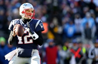 FOXBOROUGH, MASSACHUSETTS - JANUARY 13: Tom Brady #12 of the New England Patriots makes a pass against the Los Angeles Chargers at Gillette Stadium on January 13, 2019 in Foxborough, Massachusetts.   Maddie Meyer/Getty Images/AFP