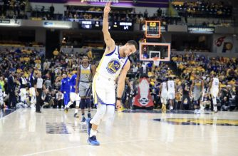 INDIANAPOLIS, INDIANA - JANUARY 28: Stephen Curry #30 of the Golden State Warriors celebrates after making a basket to end the first half against the Indiana Pacers at Bankers Life Fieldhouse on January 28, 2019 in Indianapolis, Indiana.   Andy Lyons/Getty Images/AFP