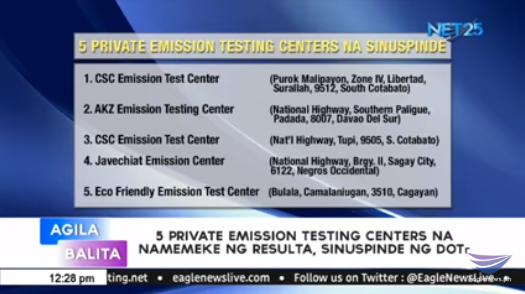 DOTr suspends 5 private emission testing centers for faking test results