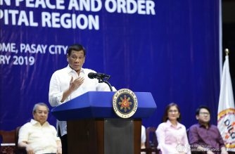 President Rodrigo  Duterte delivers his speech during the Barangay Summit on Peace and Order held at the Cuneta Astrodome in Pasay City on January 8, 2019. TOTO LOZANO/PRESIDENTIAL PHOTO