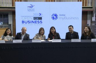 Eagle Broadcasting Corporation and Globe Telecommunications sign a partnership agreement on helping promote Micro, Small and Medium Enterprises (MSMEs) on Saturday, January 25, 2019 held at the EBC headquarters in Quezon City. The promotion will be done through EBC's online business program, Open For Business anchored by Caesar Vallejos. (Eagle News Service)